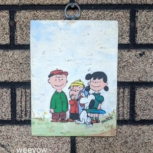 VTG Hand Painted PEANUTS GANG Painting